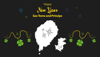 Happy New Year illustration theme with map of Sao Tome and Principe