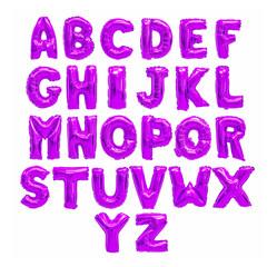 English alphabet purple, violet