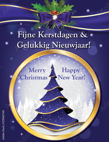 Merry Christmas In Dutch.Dutch Lovely Greeting Card For Winter Holiday Merry