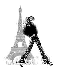Printed roller blinds Art Studio Fashion model by Eiffel tower