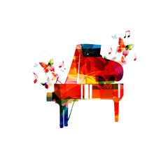 Colorful piano with music notes vector illustration. Music background. Music instrument poster. Piano design with g-clef for music event. Treble clef and music notes, musical symbols with piano