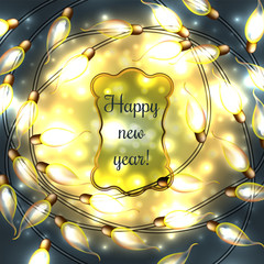 Colorful Glowing Christmas Lights.Vector elements can be used as backdrop for new Year decoration. Holiday Illustration, luminous electric garland, shiny light bulbs and wire