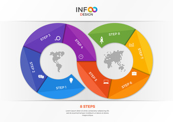 Infographic template in the form of the infinity sign with 8 steps Wall mural