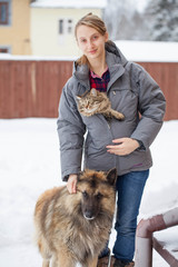Teenager girl with her pets