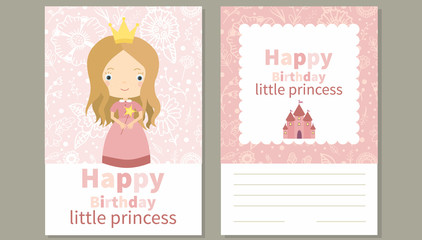 Happy Birthday little princess. Birthday card with cute little girl and  pink floral seamless pattern painted by hand. All elements are hidden under mask. Pattern are not cropped and can be edited