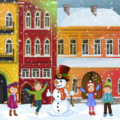 Christmas illustration with snowman and happy children in winter town