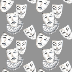 Seamless pattern with theater masks of laughter and sadness emotions, hand drawn on a gray background