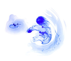 blue ink in water isolated on white background