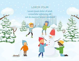 Children playing outside on the background of snowy city