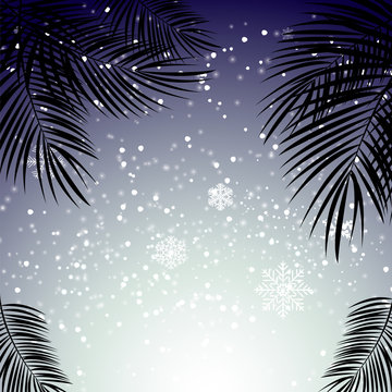 Christmas and New Year with palm leaves in the background. Vecto