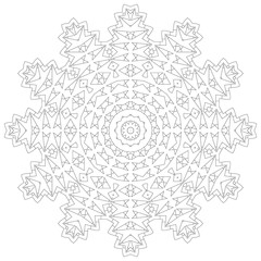 Mandala illustration. Circular intricate pattern. Lace circle design template. Abstract geometric mono line background isolated on white.