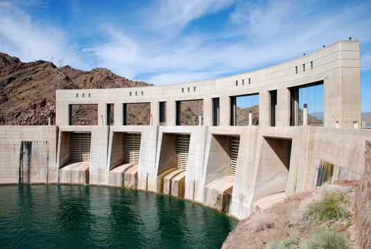 Parker Dam on the border of California and Arizona, Lake Havasu and Colorado river