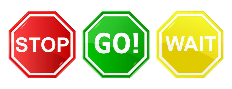 Go, wait, and stop control sign