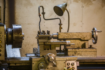 Lathe in workshop