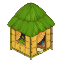 Cozy house made of bamboo and straw
