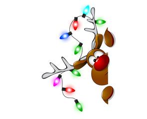 Cute Christmas reindeer Rudolf 3. Cartoon reindeer on greeting cards with Christmas.