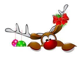 Cute Christmas reindeer Rudolf 4. Cartoon reindeer on greeting cards with Christmas.