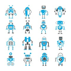cute robot and monster icons