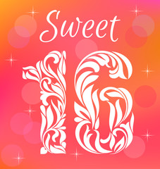 Bright Greeting card Invitation Template. Sweet Sixteen