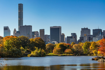 Fall in Central Park at The Lake with Midtown skyscrapers. Sunrise view with colorful Autumn foliage. Manhattan, New York City