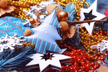 Composition of beautiful Christmas decor, close up view