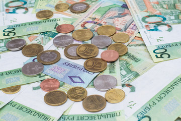 New belorussian money. Coins and banknotes. Finance concept.