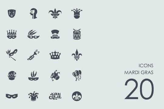 Set of Mardi Gras icons