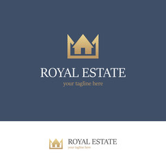 Royal estate logo on blue background