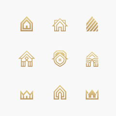 Houses logo set on white background