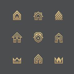 Houses logo set on black background