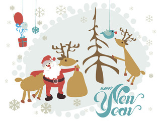 Santa Claus and reindeer against a dark background. for posters, flyers, brochures, postcards, web, banner, board, card,
