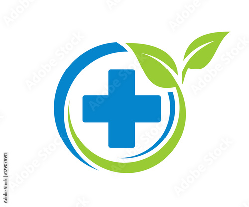 Generic Pharmacy Circle Plus Leaf Medicine Icon Logo Design Stock - Generic company logo free