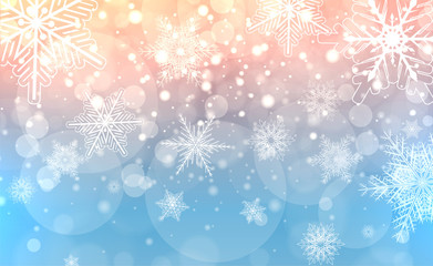 Christmas background with snowflakes, winter magic