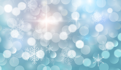 Christmas background with snowflakes and blinking bokeh