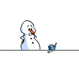 Christmas snowman character sadness broken ball cartoon illustration isolated image