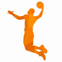 silhouette of a basketball player. vector drawing
