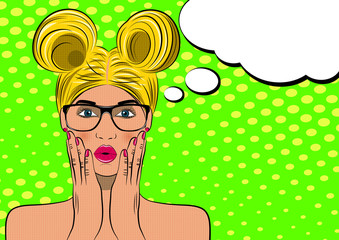 Pop art surprised blond woman face. Comic wooman with speech bubble. Vector illustration.