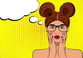 Pop art surprised brunette woman face. Comic wooman with speech bubble. Vector illustration.