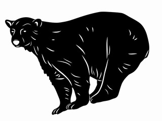 silhouette of a polar bear. vector drawing