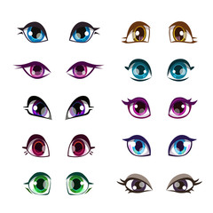 Cartoon girls eyes set.