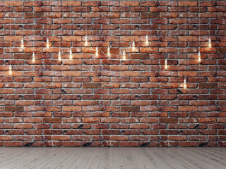 Red brick empty wall with light bulbs, background, 3d illustration Wall mural
