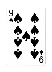 Old playing card (nine) isolated on a white background.Playing c