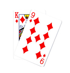 Two cards isolated on white.K and 9 playing cards in diamond iso