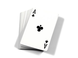 Ace - illustration of cards.Ace of playing cards isolated on whi