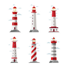 Cartoon lighthouse icons. Vector beacon or pharos set for sea security illustration
