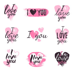 I love you message and heart icons badges set.