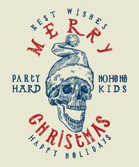 Santa Claus skull print. Tough Christmas design. Party hard winter holidays. Spooky santa. dead head Christmas.