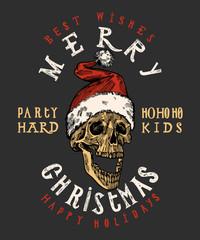 merry christmas santa claus skull print. tough christmas lettering. rock christmas t shirt print.