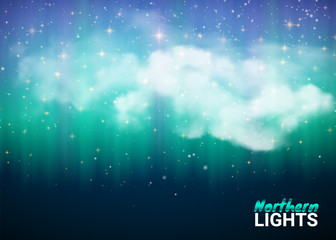 Magic Fabulous Night Sky with Clouds and Realistic colored Northern or polar lights. Starry Aurora Beautiful Natural Effect for Design Projects. Vector Illustration.