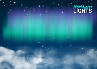 Starry Night Sky Aurora Beautiful Natural Effect for Design Projects. Deep Dark Magic Fabulous with Clouds and Realistic Colored Northern or polar lights. Vector Illustration.